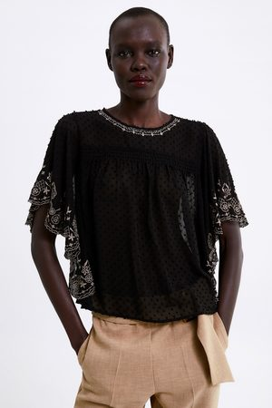 Zara Bluzka z tkaniny plumeti z haftem