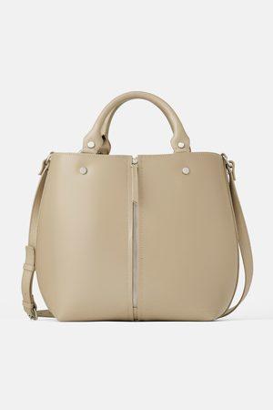 Zara Skórzana torba typu shopper z suwakiem