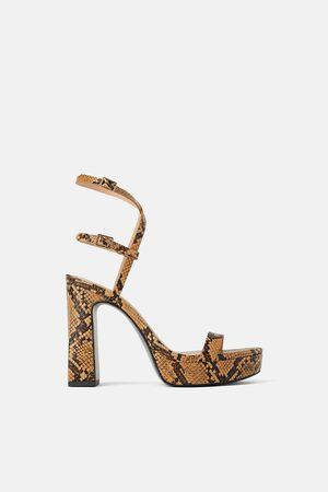 Zara Sandały na obcasie i platformie w zwierzęcy deseń