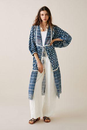 Zara Kimono z nadrukiem i haftem