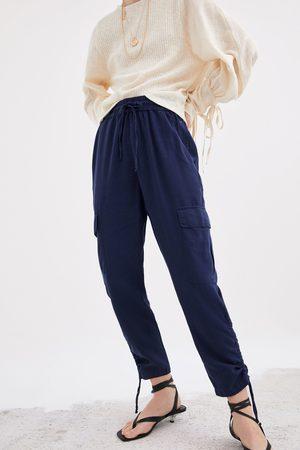 Zara Spodnie typu cargo z tkaniny w stylu rustykalnym