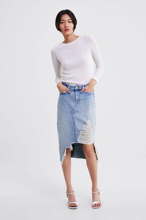 Zara Z1975 ripped denim skirt
