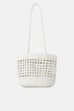 Zara Torba typu shopper z plecionki