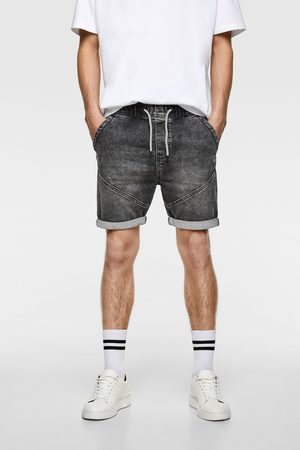 Zara Bermudy jeansowe z przyjemnej w dotyku tkaniny