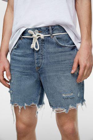 Zara Bermudy jeansowe z wiązaniem w pasie
