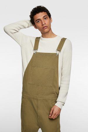Zara Spodnie ogrodniczki z kieszeniami typu cargo