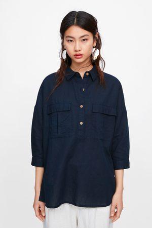 Zara Koszula oversize z kieszeniami