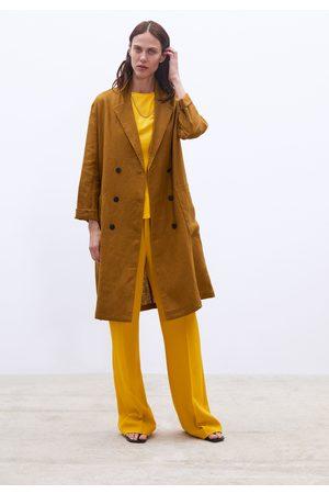 Zara Długi lniany płaszcz