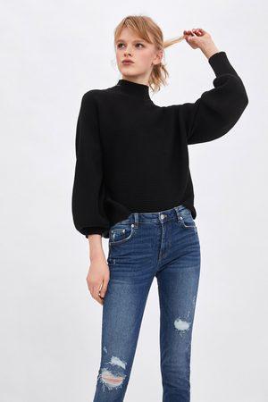 Zara Spodnie jeansowe rurki ze średnim stanem typu compact