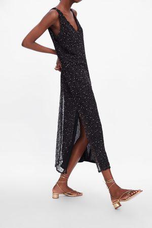 Zara Kobieta Szpilki i czółenka - Skórzane sandały na obcasie z cienkimi paskami