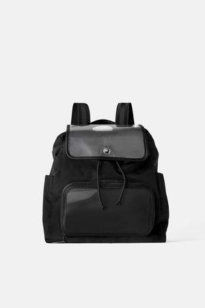 Zara Winylowy plecak z tkaniny technicznej