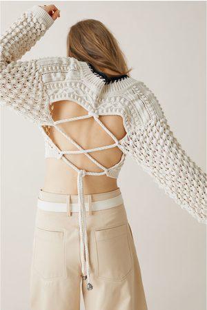 Zara Krótki sweter z dzianiny strukturalnej z limitowanej edycji z kolekcji stud