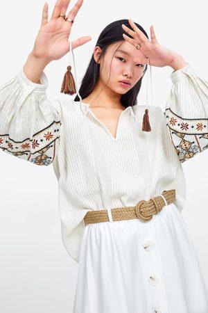 Zara Bluzka z haftem i troczkiem