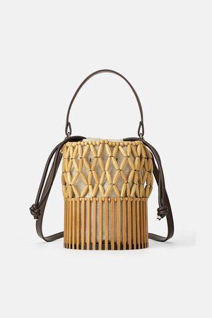 Zara Mini torebka typu koszyk z naturalnych materiałów