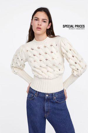 Zara Sweter z bufiastymi rękawami wykonany ściegiem warkoczowym