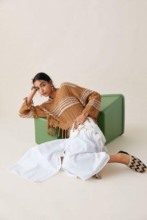 Zara Dwubarwny sweter z frędzlami z limitowanej edycji z kolekcji studio