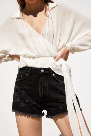 Zara Spodenki jeansowe z rozdarciami