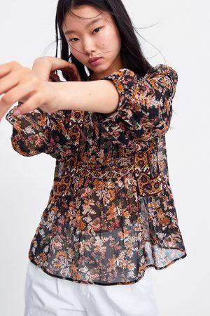 Zara Bluzka z haftem w kwiaty