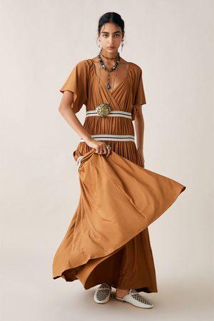 Zara Sukienka z łączonych tkanin z marszczeniem z limitowanej edycji z kolekcji