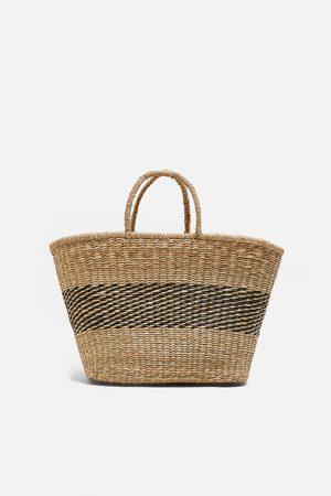 Zara Dwubarwna torba typu koszyk z naturalnych materiałów