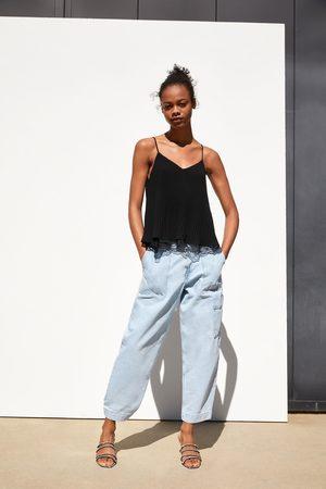 Zara Top w stylu bieliźnianym z łączonych tkanin