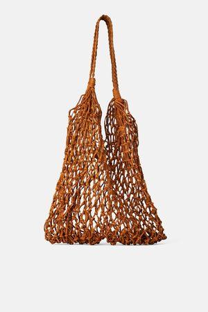 Zara Skórzana torba typu shopper z plecionki