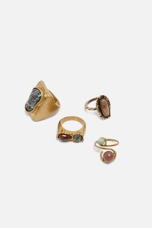 Zara Komplet pierścionków z kamieniami z limitowanej edycji