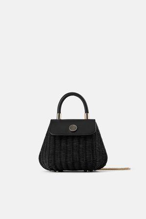 Zara Czarna mini torebka z rafii