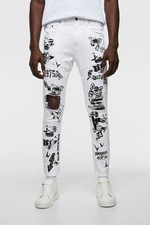 Zara Spodnie jeansowe rurki w stylu motocyklowym z napisami