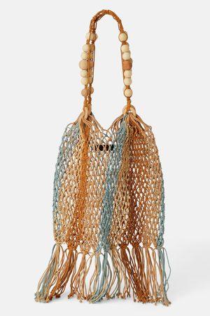 Zara Torebka typu worek z naturalnej sznurkowej plecionki