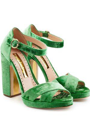 Rupert Sanderson Velvet Platform Sandals
