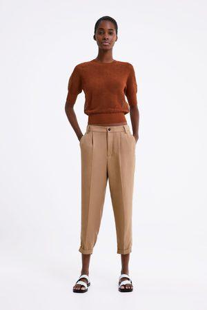 Zara Spodnie z podwijanymi nogawkami