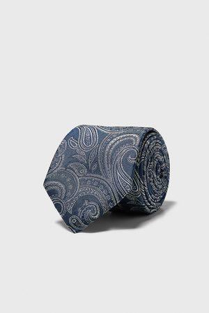 Zara Szeroki żakardowy krawat w paski