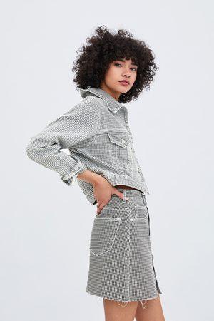 Zara Kurtka jeansowa o krótszym kroju w pepitkę