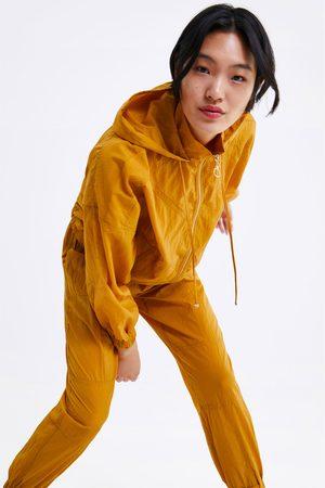 Zara Spodnie joggery z marszczonej tkaniny