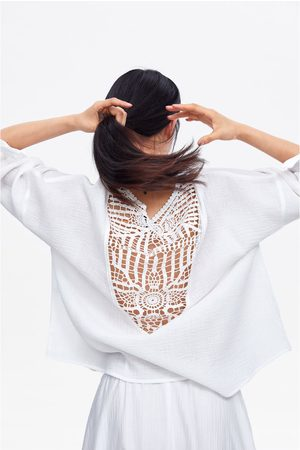 Zara Bluzka z łączonych tkanin