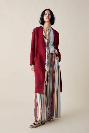 Zara Lniany płaszcz z kieszeniami