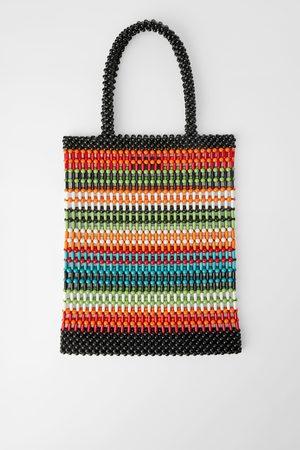 Zara Wielobarwna torba typu shopper z koralików