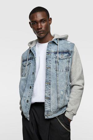 Zara Kurtka jeansowa ze wstawkami