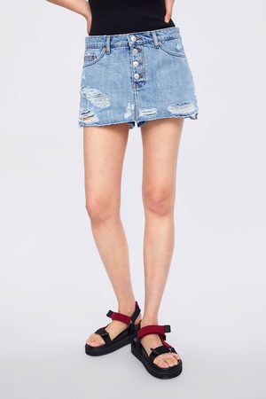 Zara Spódnicospodnie button fly skort sunrise blue