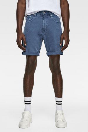 Zara Jednobarwne spodenki jeansowe