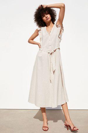 Zara Sukienka w stylu rustykalnym w kratę