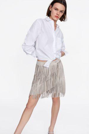 Zara Spódnica ze sztucznego zamszu z frędzlami