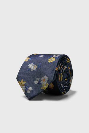 Zara Szeroki krawat w kwiaty