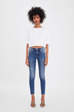 Zara Mid-rise skinny compact jeans with pearl bead trims