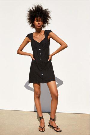 Zara Sukienka w stylu rustykalnym z guzikami
