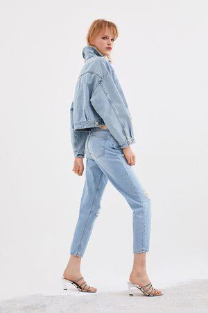 Zara Spodnie jeansowe w stylu mom fit z rozdarciami