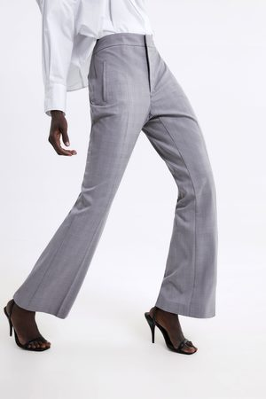 Zara Spodnie z rozszerzanymi nogawkami w kratę