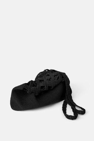 Zara Torba typu worek z tekstylnej plecionki