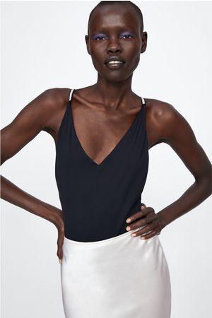 Zara Kostium kąpielowy z biżuteryjnym zdobieniem na ramiączkach